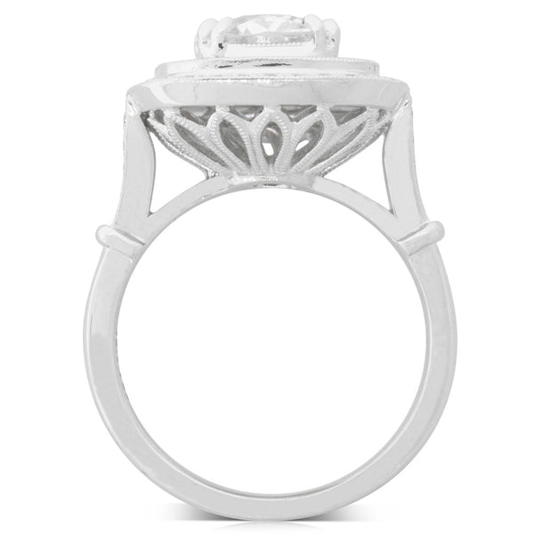 18ct White Gold 1.56ct Diamond Halo Ring - Walker & Hall