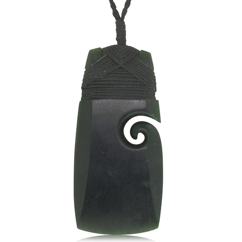 NZ Greenstone Koru & Toki Pendant - Walker & Hall