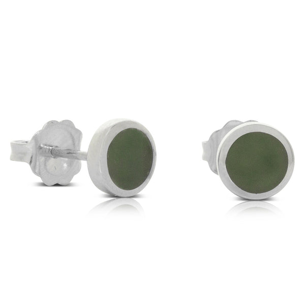 Sterling Silver Greenstone Stud Earrings