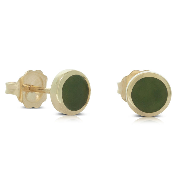 14ct Yellow Gold Greenstone Stud Earrings