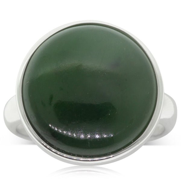 Sterling Silver NZ Greenstone Ring - Walker & Hall