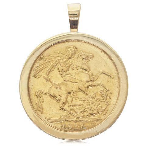 9ct Yellow Gold Full Sovereign Coin Pendant - Walker & Hall