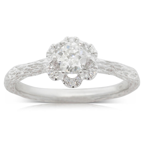 18ct White Gold .36ct Diamond Halo Ring - Walker & Hall