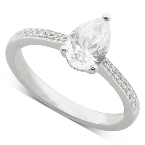 18ct White Gold 1.01ct Diamond Pear Cut Ring - Walker & Hall