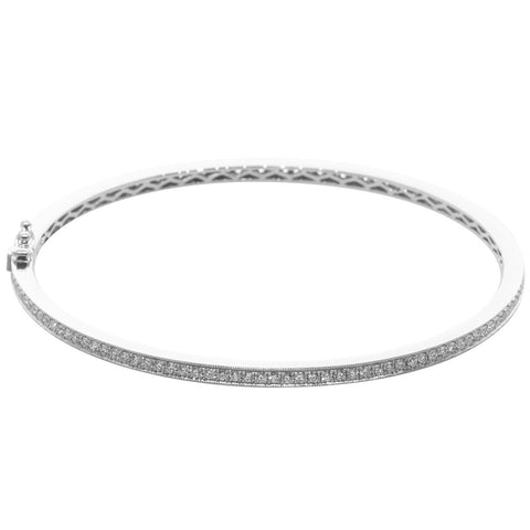 18ct White Gold 1.87ct Diamond Bangle - Walker & Hall