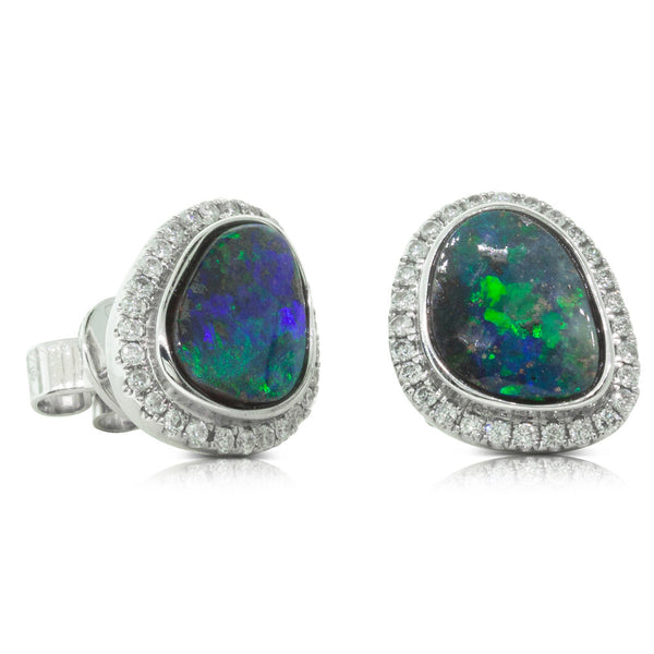 18ct White Gold 3.14ct Black Opal & Diamond Halo Stud Earrings - Walker & Hall