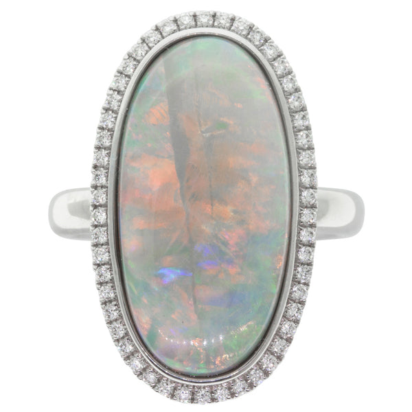 18ct White Gold 9.32ct Opal & Diamond Halo Ring - Walker & Hall