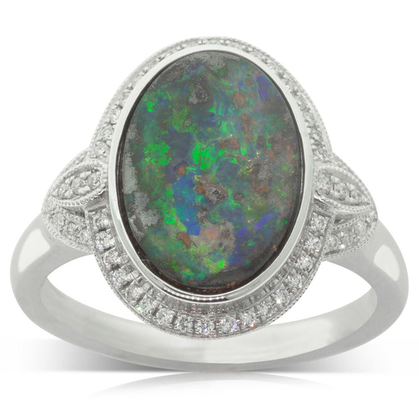 18ct White Gold Opal & Diamond Halo Ring - Walker & Hall