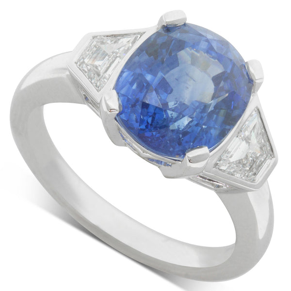 18ct White Gold 6.08ct Sapphire & Diamond Ring - Walker & Hall