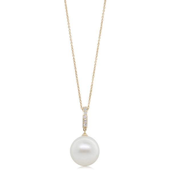 18ct Yellow Gold South Sea Pearl & Diamond Pendant - Walker & Hall