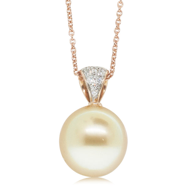 18ct Rose Gold 13mm South Sea Pearl & Diamond Pendant - Walker & Hall