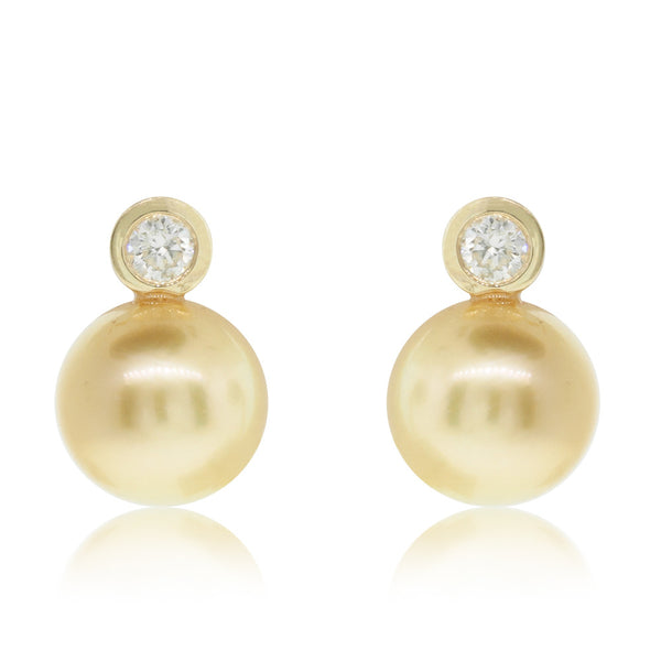18ct Yellow Gold South Sea Pearl & Diamond Stud Earrings - Walker & Hall