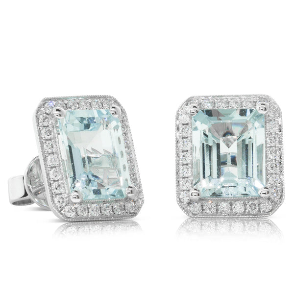 18ct White Gold Aquamarine & Diamond Halo Stud Earrings - Walker & Hall