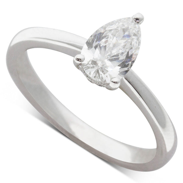 18ct White Gold .80ct Pear Cut Diamond Ring - Walker & Hall