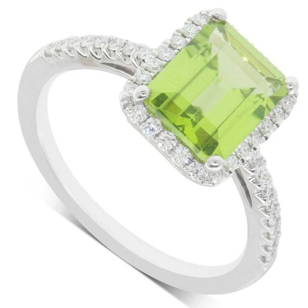 18ct White Gold 2.51ct Peridot & Diamond Halo Ring - Walker & Hall