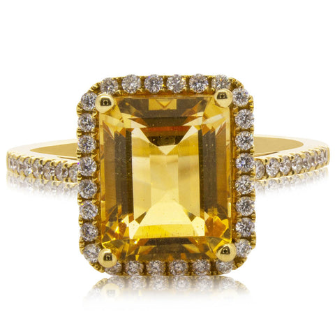 18ct Yellow Gold Citrine Halo Ring - Walker & Hall