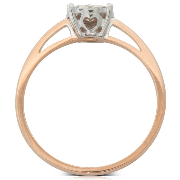9ct Rose Gold .26ct Diamond Coronet Ring - Walker & Hall