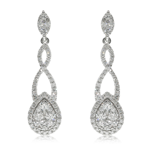 18ct White Gold 1.56ct Diamond Drop Earrings - Walker & Hall