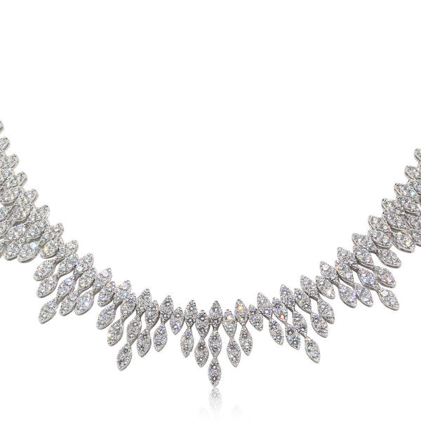 18ct White Gold 23.53ct Diamond Cluster Necklace - Walker & Hall