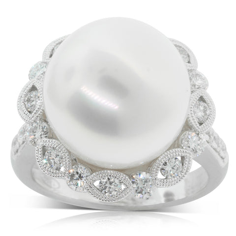 18ct White Gold 14.3mm Pearl & Diamond Ring - Walker & Hall
