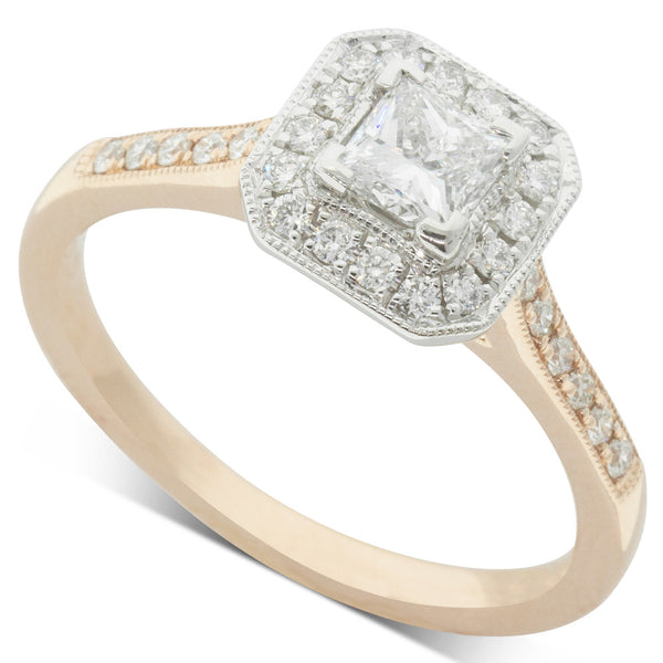 18ct White & Rose Gold .41ct Diamond Mandalay Ring - Walker & Hall