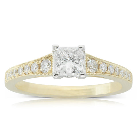 18ct Yellow Gold .66ct Diamond Vantage Ring - Walker & Hall