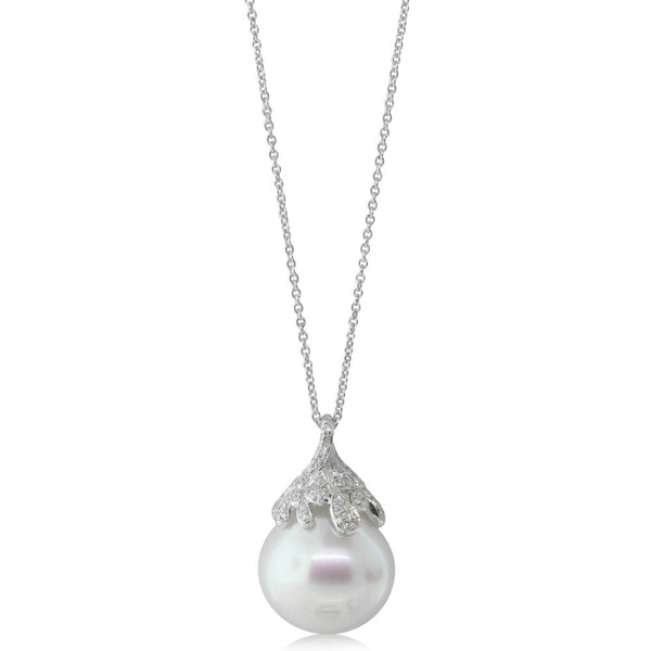 18ct White Gold 16.2mm South Sea Pearl Pendant - Walker & Hall