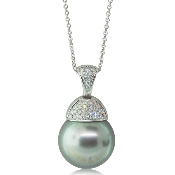 18ct White Gold Cultured Black Pearl Pendant - Walker & Hall