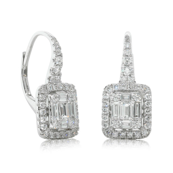 18ct White Gold 1.02ct Diamond Drop Earrings - Walker & Hall