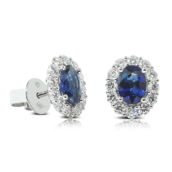 18ct White Gold Sapphire & Diamond Halo Stud Earrings - Walker & Hall