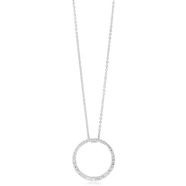 18ct White Gold .58ct Diamond Circle Pendant - Walker & Hall
