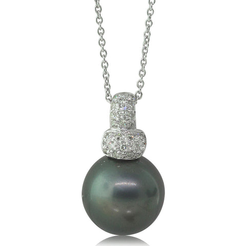 18ct White Gold 12.9mm Cultured Black Pearl & Diamond Pendant - Walker & Hall