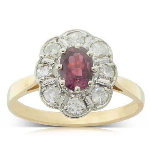 Vintage 18ct White & Yellow Gold Ruby & Diamond Halo Ring - Walker & Hall