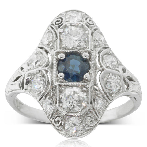 Vintage Platinum .45ct Sapphire & Diamond Ring - Walker & Hall