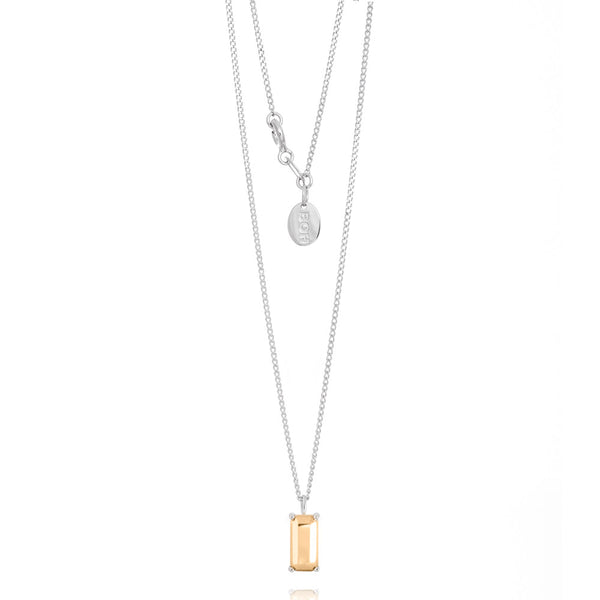 Boh Runga Modern Classic Baguette Pendant - Sterling Silver & 9ct Yellow Gold - Walker & Hall