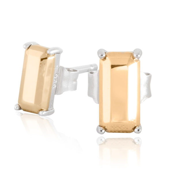 Boh Runga Modern Classic Baguette Stud Earrings - Sterling Silver & 9ct Yellow Gold - Walker & Hall