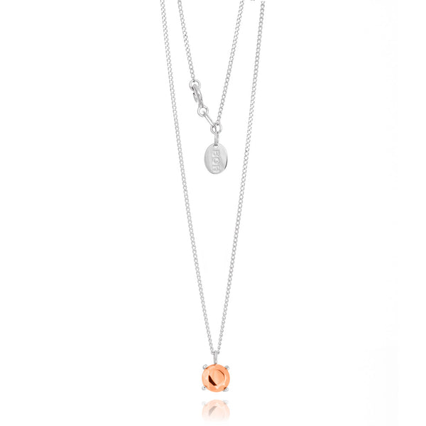 Boh Runga Modern Classic Round Pendant - Sterling Silver & 9ct Rose Gold - Walker & Hall