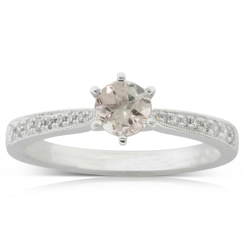 18ct White Gold .45ct Morganite & Diamond Zenith Ring - Walker & Hall