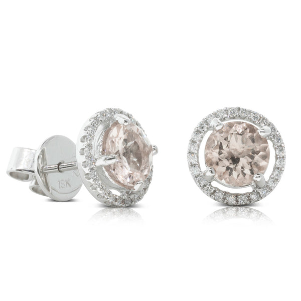 18ct White Gold 1.50ct Morganite & Diamond Halo Stud Earrings - Walker & Hall
