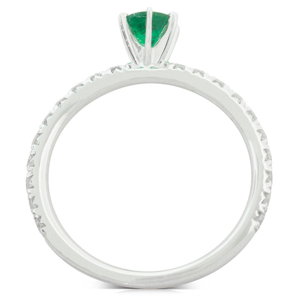 18ct White Gold .34ct Emerald & Diamond Comet Ring - Walker & Hall