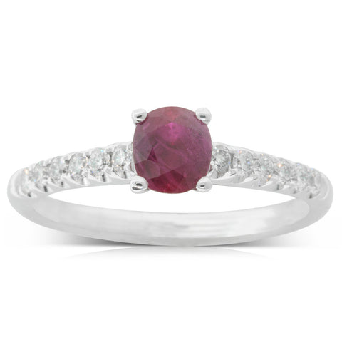 18ct White Gold .95ct Ruby & Diamond Meridien Ring - Walker & Hall
