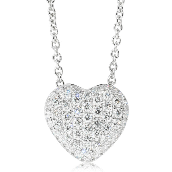 18ct White Gold .42ct Diamond Heart Pendant - Walker & Hall