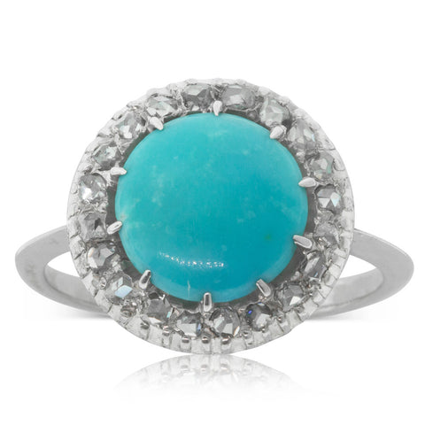 Vintage 9ct White Gold Turquoise & Diamond Halo Ring - Walker & Hall