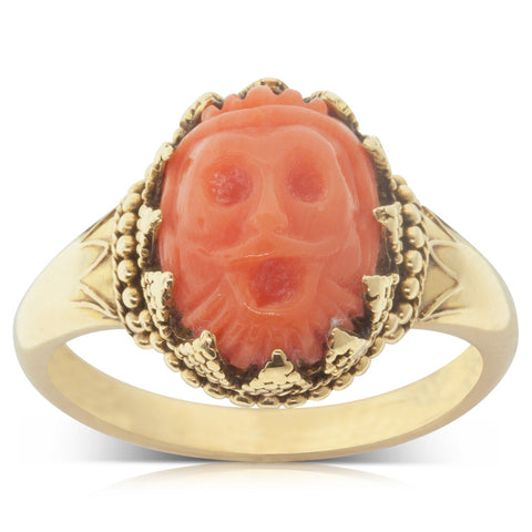 Vintage 18ct Yellow Gold Coral Face Ring - Walker & Hall