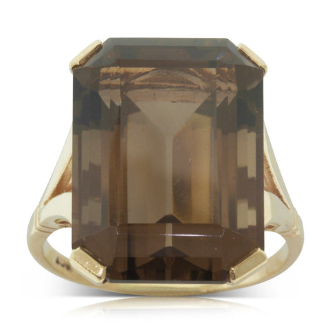 Vintage 9ct Yellow Gold Smokey Quartz Ring - Walker & Hall