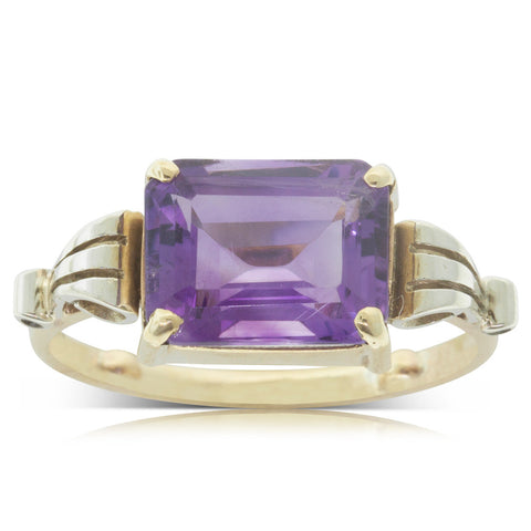 Vintage 9ct Yellow & White Gold Amethyst Ring - Walker & Hall