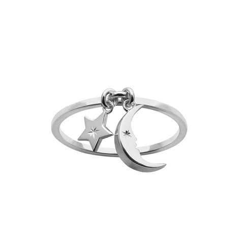 Karen Walker Moon & Star Charm Ring - Sterling Silver - Walker & Hall