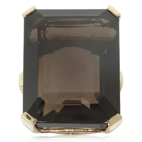 Vintage 14ct Yellow Gold 42ct Smoky Quartz Ring - Walker & Hall