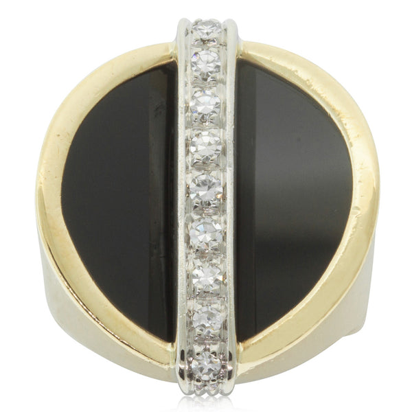 Vintage 18ct White & Yellow Gold Onyx & Diamond Ring - Walker & Hall