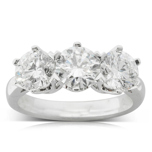 18ct White Gold 3.08ct Diamond Trilogy Ring - Walker & Hall
